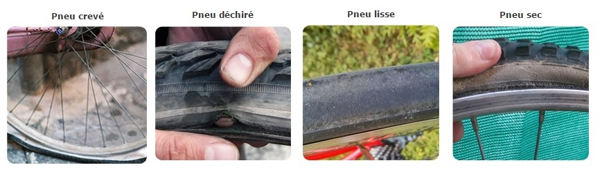 reperer pneu lisse sec creve dechire